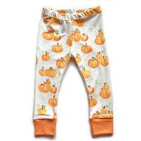 bebek halloween tozluk toptan satış-Bebek Cadılar Bayramı Pantolon Yürüyor Bebekler Kabak Baskılı Güz Sıkı Tayt Çocuk Pamuk Harlan Pantolon Ücretsiz Kargo