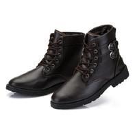 Wholesale purple western boots - XiaGuoCai Spring autumn Men Boots Vintage Style Men Shoes Casual Fashion High-Cut Lace-up Warm Hombre Motorcycle Men Shoes-5