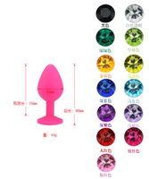 Wholesale Colorful Butt Plugs - Soft Silicone Anal Toys Smooth Touch Colorful Diamond Butt Plugs Insert Stopper Anal Dildo Anal Sex Toys BDSM Adult Products M