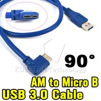 Wholesale Micro Usb Generic Cable - Newest Blue Generic USB 3.0 A Male AM Plug to BM Micro B 10Pin Male Left 90 Degree Angled Cable Adapter Connector 45cm Converter