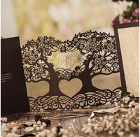 Wholesale Cutout Invitations - Wholesale- 50Pcs  Lot Customized Coffee Luxy Lace Decorated Cutout Wedding Invitations Cards Personalized