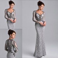 Wholesale Bride Gown Cheap Crystal - Sexy Mermaid Mother of The Bride Dresses Long Sleeves Sliver Gray Suits Groom Cheap prom Dress Crystals Lace Evening Gowns V Neck