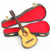Wholesale Mini Wooden Instruments - Free Shipping Wooden Mini Instrument Guitar Decoration Wooden Mini Guitar Toy