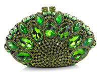 Wholesale Beaded Pillow Green - Free shipping !! Z16-6 green color fashion top crystal stones ring clutches bags for ladies nice party bag