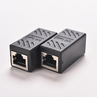 Wholesale black network cable - Wholesale- 1PC Black Female to Female Network LAN Connector Adapter Coupler Extender RJ45