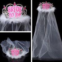 Wholesale Bachelorette Decor - Bride To Be Crown Tiara with White Veil Headwear Decor Bachelorette Girls Hens Party Night Party Bridal Shower Wedding Favors