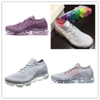 Wholesale Elastic Rubber Sports Running - New Rainbow VaporMax 2018 BE TRUE Men Woman Shock Running Shoes For Real Quality Fashion Men Casual Vapor Maxes Sports Sneakers