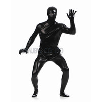 Wholesale Black Suit Men Leather - Wholesale-Adult Mens Faux Leather Metallic Black Bright Full Skin Zentai Cosplay Costume Halloween Suit Bodysuit Unitard leotard