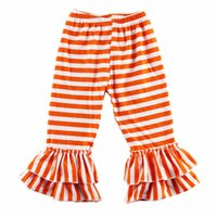 Wholesale Double Ruffle Pants - Girls Skinny Double Ruffle Trousers for Autumn Cotton Striped Girls Ruffled Trousers Winter Girls Ruffle Pants
