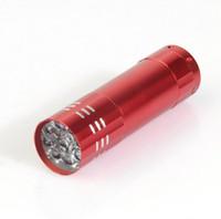 tragbare taschenlampen großhandel-Mini 9 LED Lichter Notfall Taschenlampe Aluminiumlegierung Lampe LED Lichtquelle führte Taschenlampe tragbare Taschenlampe Taschenlampen im Freien