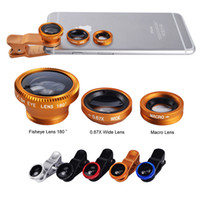 Wholesale Telescope Fisheye Lens - 3 in 1 Universal Clip Fish Eye Wide Angle Macro Phone Fisheye glass camera Lens Telescopes with Retail Packaging DHL