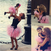 Wholesale Cute Red Black Outfits - Mother and Daughter Tulle Skirts Pink Tutu Cute Ruffles Fluffy Parent-child Skirt Sweet Free Shipping Family Dresses Alikes Matching Outfits