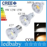 Wholesale 12v led down light white resale online - CREE E14 GU10 MR16 E27 cob Led Bulb Light Dimmable W W W Led Spot Bulbs down lights Lamp AC V V