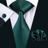 Wholesale Neck Tie Solid Wide - Classic Tie Cufflinks Hanky Men's Deep Green Necktie Jacquard Woven Formal Business Tie 8.5cm Wide Tie for Men N-0830