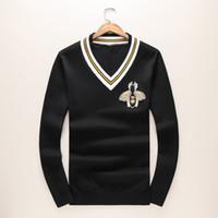 Wholesale Black Lace Sweaters - 2017 Autumn And Winter MEN BLACK Sweater Male Fashion V Lead KNITTING Florea Printing Cashmere Sweater M-XXXL