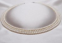 "Wholesale Triple Strand Pearl Necklace 19 - Classic triple strands 9-10mm south sea white round pearl necklace 18"" 19"" 20"" S925 silver"