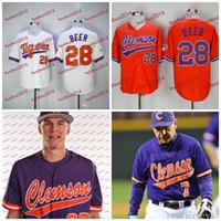 Wholesale Custom Beers - #28 Seth Beer Baseball Jerseys Clemson Tigers Custom Throwback Colleage Baseball Jerseys Mens Womens Youth