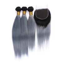 ingrosso chiusura dei capelli 3pcs-8A capelli vergini brasiliani serici due toni # 1B / grigio 3 pezzi con chiusura in pizzo ombre capelli umani fasci radici scure capelli grigi