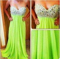 longo verde brilhante vestidos de baile venda por atacado-2016 nova brilhante verde chiffon prom dress longo com querida pescoço de cristal frisado a line vestido de noite plus size vestido de custom made