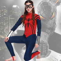 spider coats women - NEW Arrival Sexy women spider man Superhero Girl cosplay costume clothing halloween hairpiece coat jumpsuits jacket set uniform