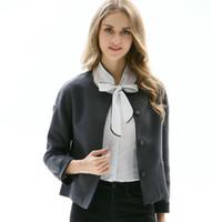 Wholesale women winter party coats online - Fashion Autumn Winter Short Coats Woman Solid Color Slim Elegance Basic Jacket Vintage Buttons Party Outerwear Jackets for Women