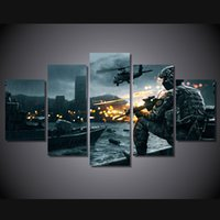 Wholesale battlefield poster - 5 Pcs Set Framed Printed battlefield scenario Painting Canvas Print room decor print poster picture canvas Free shipping ny-4515