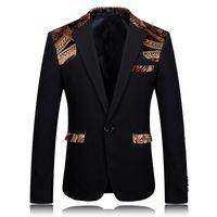 Wholesale Party Wear Designer Suits - Wholesale- Blazer Men 2017 Printed Blazer Stage Jacket Designer Party Wear Suit 4XL Men Slim Fit Blazer Stylish Black Khaki Suit Jacket