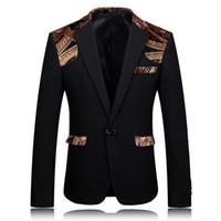 ingrosso abito nero khaki per gli uomini-Wholesale- Blazer Uomo 2017 Blazer stampato Giacca palcoscenico Designer Party Wear Suit 4XL Uomo Slim Fit Blazer Giacca nera Khaki Suit elegante