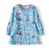 Wholesale Dress Horizontal Stripes - 2017 Girls Fall Cotton Horizontal stripes Dress Princess Dress Costume for 2-12T Kids Clothes Tunic Appliques Girls Jersey Dresses