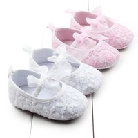 Wholesale Pre Walker White Shoes - Wholesale- Hot Sweet Baby Shoes Lace Cotton Newborn Baby Pre walker Riband Butterfly-knot Princess Baby Girl Dress Shoes White Pink Color