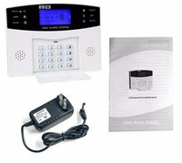 Wholesale Quad Band Home Security - Wholesale- quad band wireless wired gsm alarm system LCD display door sensor home security alarm systems Wired Siren Kit SIM SMS Alarm