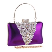Elegante Minaudiere Bolsas para Mulheres 2017 Moda Beaded Evening Bags Beads Evening Clutch Wedding Party Bag Purple Black Gold D006