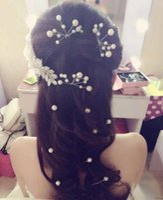 Wholesale Hairpins Pick - 4 pcs\lot Wedding Bridal Pearl Crystal Rhinestone HairPins Bridesmaid Clips Hair Wear U Pick Tiara Jewelry Hair Accessories 2016