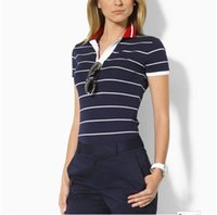 Wholesale Cotton Womens Shirts Classic - 2016 Hot Sale Summer New for Woman polo stripe Shirt Casual polo Women's Shirts 100% Cotton for Women Tee Tops womens Free shipping