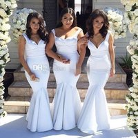 Wholesale Cheap Wedding Dresses Fast Shipping - Cheap White Mermaid Bridesmaid Dresses Satin Floor Length Plus Size Long Wedding Guest Dresses Evening Party Dresses Fast Shipping