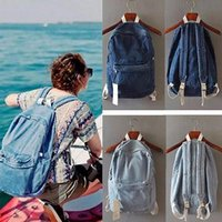 Wholesale Jean Shoulder Bags - Unisex Vintage Washed Denim Jean Rucksack Shoulder School Bag Boys Girl Travel Matching Backpack 2 Colors YYA372