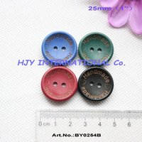 """Wholesale Sew Buttons 25mm - (4colors,100pcs pcs) 25mm Handmad buttons wooden sew on button black,blue,green,maroon crafts1""""-BY0254B"""