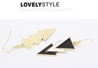Wholesale White Black Geometry - EK320 New Europe American Hyperbole Elegant Geometry Triangle Black White Drip Drop Earrings for Women Pendientes Bijoux Brincos