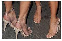 sandalias de plastico transparente al por mayor-Sandalia de Kim Kardashian sexy Sandalias de plástico transparente sandalias de tacón stilettos sandalias de tacón alto más el tamaño personalizado zapatos de mujer 2016