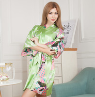 Wholesale G14 Gold - Wholesale- Flower Mid-sleeve Sexy Women Deep-V Nightwear Robes Plus Size Satin Kimono Dress Gown Female Casual Bathrobes Sleepwear G14