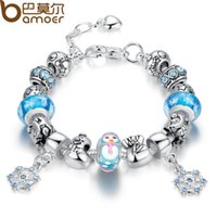 Wholesale Glass Beads Snowman - Bamoer Luxury Silver Charm Bracelet & Bangle for Women With High Quality Snowman Murano Glass Beads DIY Christmas Gift PA1807