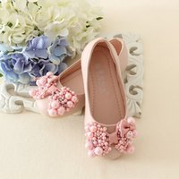 Wholesale 2016 spring and summer New Fashion Kids Pink Pearl Flower Girls Shoes Sandals Princess Shoes Girls Party Shoes