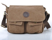 Atacado- Vintage Men's Brown Retro Canvas Couro Dois Pocket Shoulder Messenger Travel Bag Bolsa Casual
