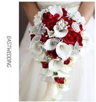 Wholesale Red Teardrop Crystals - Cascading bouquet Artificial Calla Lilies Teardrop Wedding Bouquet Red Rose 2017 Bridal Flower Bouquet Handmade Crystal Bruidsboeket