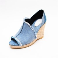 Denim Blue Jeans Wedges Bombas Straw Knitted Thick Heel Platform Shos Mulher