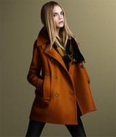 kırmızı yün harman katları toptan satış-Sonbahar Kış Avrupa ABD yeni moda kadınlar yün ceket Turuncu kırmızı uzun tarzı Kruvaze yün ceket yün Karışımı Kalın sıcak Palto