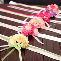 Wholesale Grooms Men Gifts - Bride wrist flowers Sister Hand Flower Groom Boutonniere best man corsage prom Wedding Flower party cup chair decoration 5colors GIFT