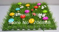 Wholesale Mushroom Mat - Buildings Garden Ornaments Artificial Plastic Grass Mat with colorful foam mushroom and wood ladybug wedding party home decoration use f...