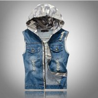 Wholesale cotton duck vest - VXO Mens Denim Jackets Men Jean Vest Hoodies Men's Jeans Waistcoat Denim Jeans Ves Motorcycle For Men Vest