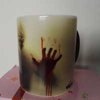 Wholesale Hand Print Pictures - Newest Design Zombie Magic Color Changing Coffee Mug Tea cups printing with Walking Dead Bloody hands and Head picture